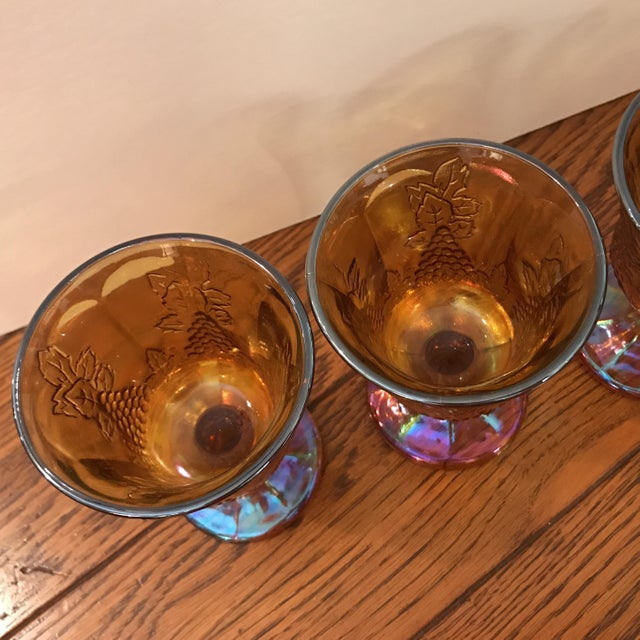 Antique Carnival Glass Pitcher & Glasses - Set of 5 - Image 7 of 10