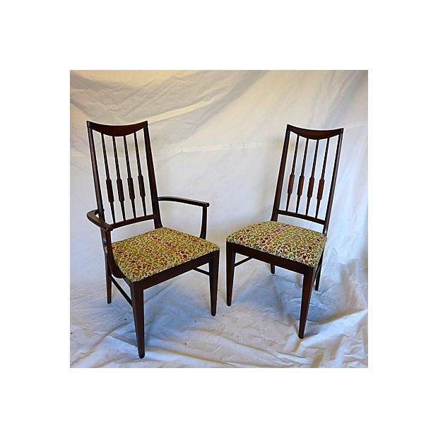 Mid-Century Reed-Back Dining Chairs - Set of 4 For Sale In New York - Image 6 of 8