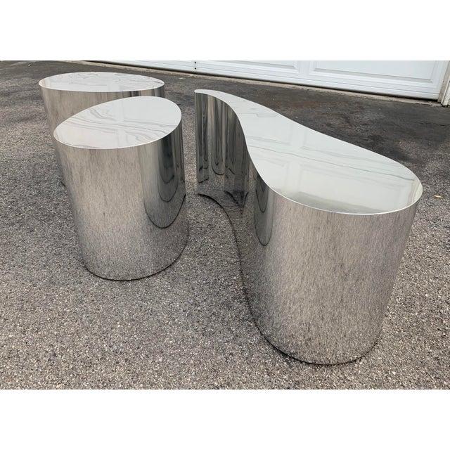 Modern 1980s Modern Organic Shape Chrome Tables - Set of 3 For Sale - Image 3 of 11