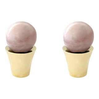 Addison Weeks Tanner Knob, Brass & Rose Quartz - a Pair For Sale