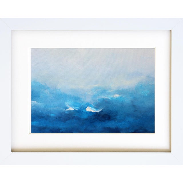Abstract Beach Coastal Original Abstract Oil Painting Swept Away Modern Blue White For Sale - Image 3 of 4