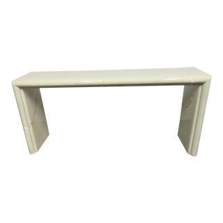 Mid-Century Modern Lacquered Faux Marble Console Table For Sale