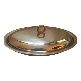 Mid-Century Italian Stainless Steel Serving Dish For Sale