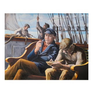 Nautical Painting of Sailors on Ship For Sale
