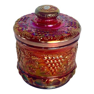 1970s Fenton Red Carnival Glass Grapes & Cord Pattern Cookie Jar, Biscuit Jar, Humidor, Canister For Sale