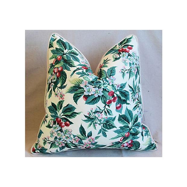 "Pair of large custom-tailored pillows in vintage/never used fabric by Schumacher Fabrics called ""Cherry Grove Bough"" from..."