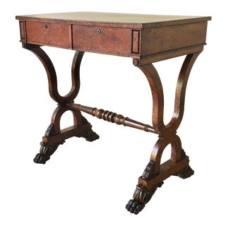 Late Regency Burr Maple Two Drawer Writing Table For Sale