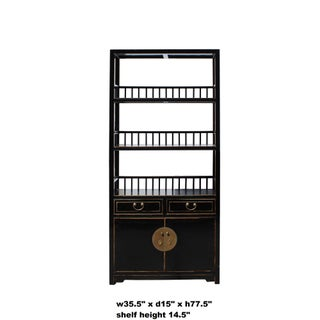 Chinese Distressed Gloss Black 3 Shelves Bookcase Display Cabinet Preview