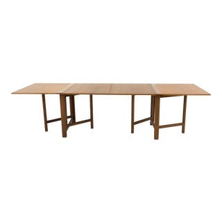 Mid Century Modern Bruno Mathsson for Karl Mathsson Maria Expanding Teak Dining Table For Sale