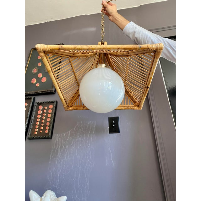 1960s Vintage Bamboo & Milk Glass Pagoda Chandelier For Sale - Image 4 of 7