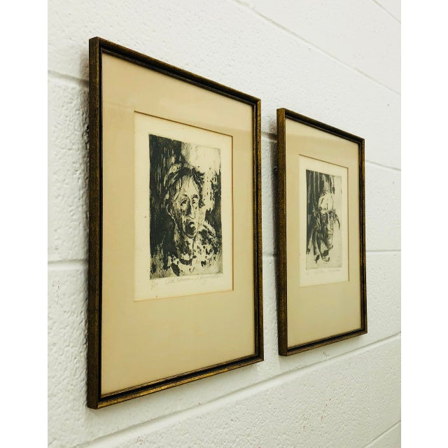 Black Original Vintage Block Prints in Frame - A Pair For Sale - Image 8 of 9