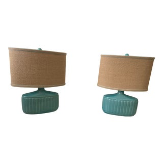 Mid-Century Turquoise Boudoir Table Lamps - a Pair For Sale