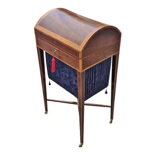 19th C English Regency Inlaid Zebra Wood Dual Desk & Sewing Table For Sale