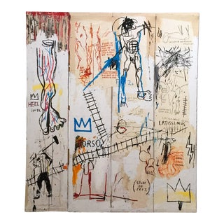 "Jean Michel Basquiat Estate Fine Art Print ""Leonardo Da Vinci's Greatest Hits"" 1982"