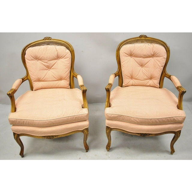 French Louis XV Provincial Style Carved Walnut Cane Back Arm Chairs - a Pair For Sale - Image 10 of 11