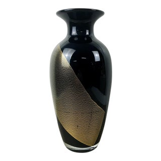 Kamei America Group Black and Gold Art Glass Vase - 1990s Vintage For Sale