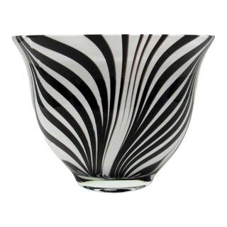 Jozefina Krosno Hand Blown Glass Zebra Bowl For Sale
