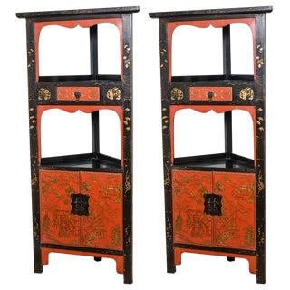 Asian Red and Black Corner Cabinets - a Pair For Sale