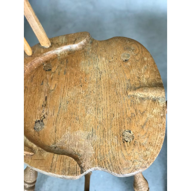 Brown 19th Centur Early American Antique Oak Windsor Chairs - Set of 4 For Sale - Image 8 of 11
