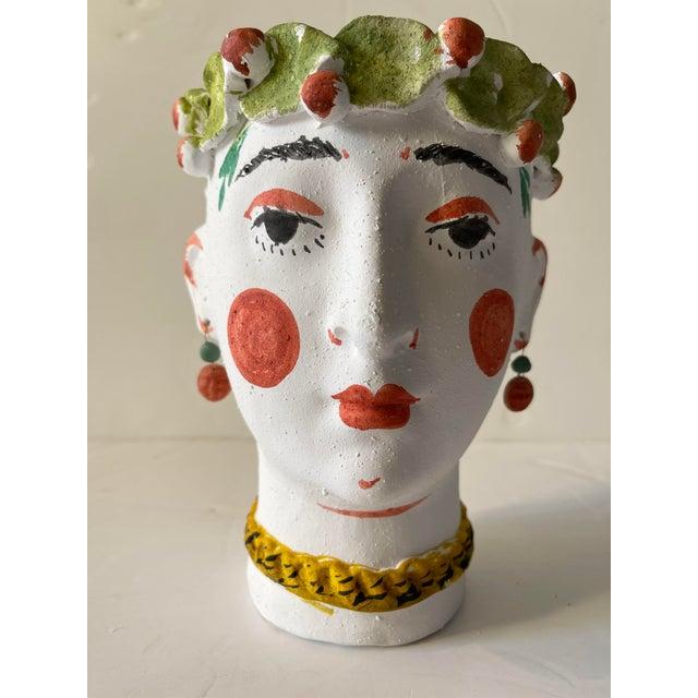 Ceramic Spanish Terra Cotta Face Pot For Sale - Image 7 of 7