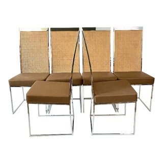 Milo Baughman Thayer Coggin Cane and Chrome Dining Chairs - Set of 6 For Sale