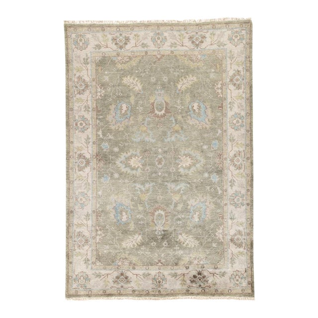 Jaipur Living Geneva Hand-Knotted Floral Green & Ivory Area Rug - 2′ × 3′ For Sale