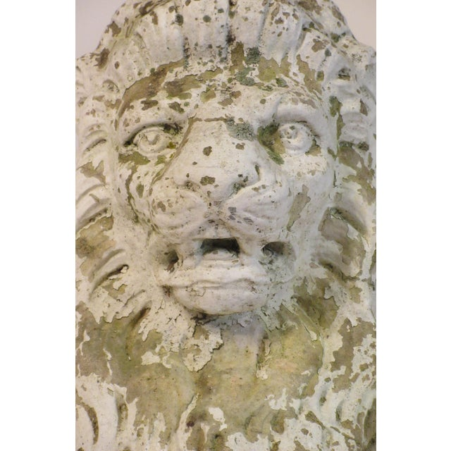 Pair of 1940s Concrete Lions For Sale In New York - Image 6 of 12
