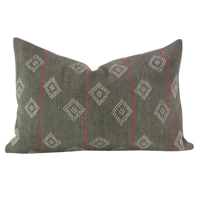 Dark Gray Bengal Kantha Lumbar Pillows - a Pair - Image 2 of 7