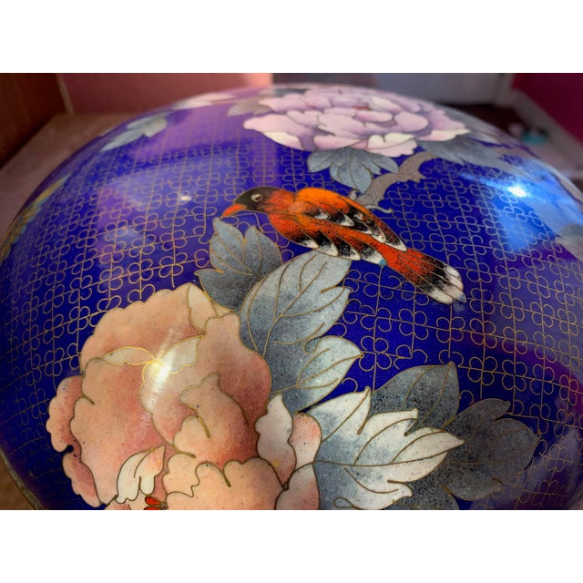 """Large """"Cloisonne"""" Enamel Bronze Bowl With Top For Sale - Image 4 of 10"""