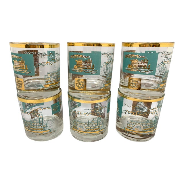 1950s Mid-Century Culver Steamboat Lowball Glasses - Set of 6 For Sale