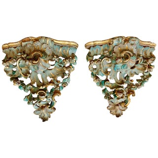 Pair of German 18th Century Rococo Parcel Gilt Wall Brackets For Sale