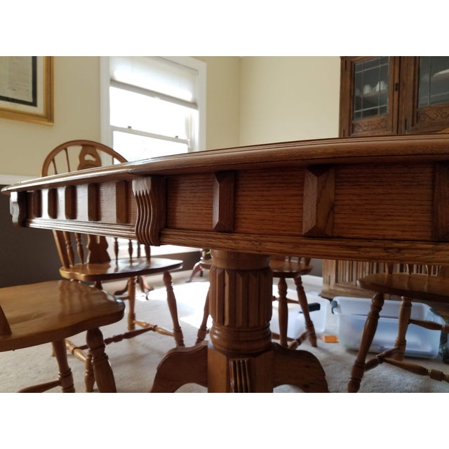 1990s Country Honey Oak Clawfoot Dining Set - 7 Pieces For Sale - Image 4 of 9
