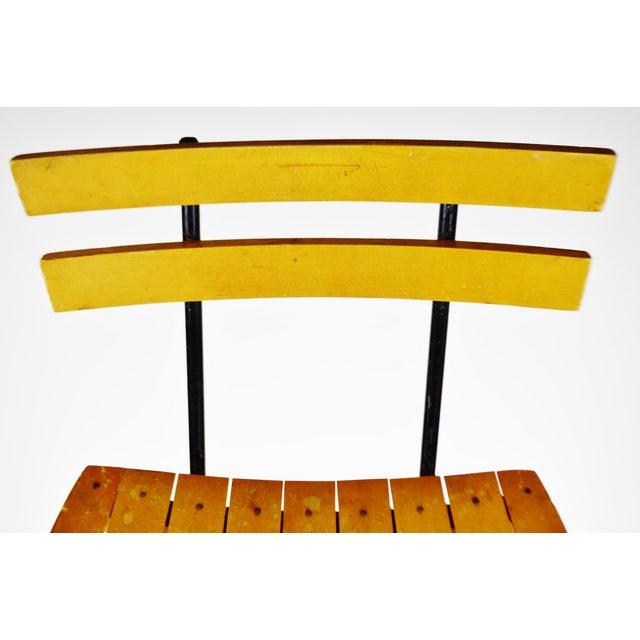 Wood Mid Century Arthur Umanoff Style Slatted Wood Swivel Stool For Sale - Image 7 of 13