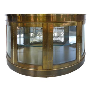 Mastercraft Mid-Century Brass Demilune Cabinet For Sale