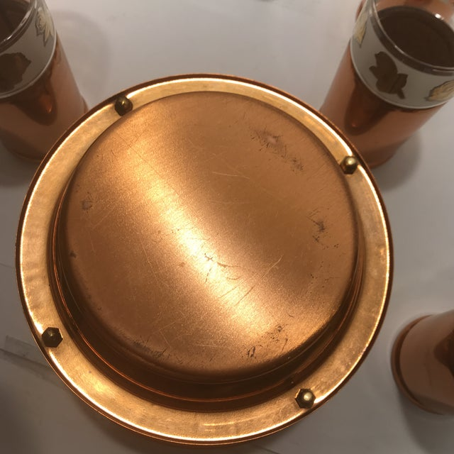 1950s Mid Century Modern Copper Detailed Ice Tea Set - 9 Pieces For Sale - Image 10 of 13