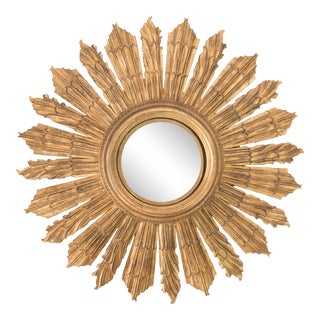 Large Antique French Giltwood Convex Sunburst Mirror For Sale