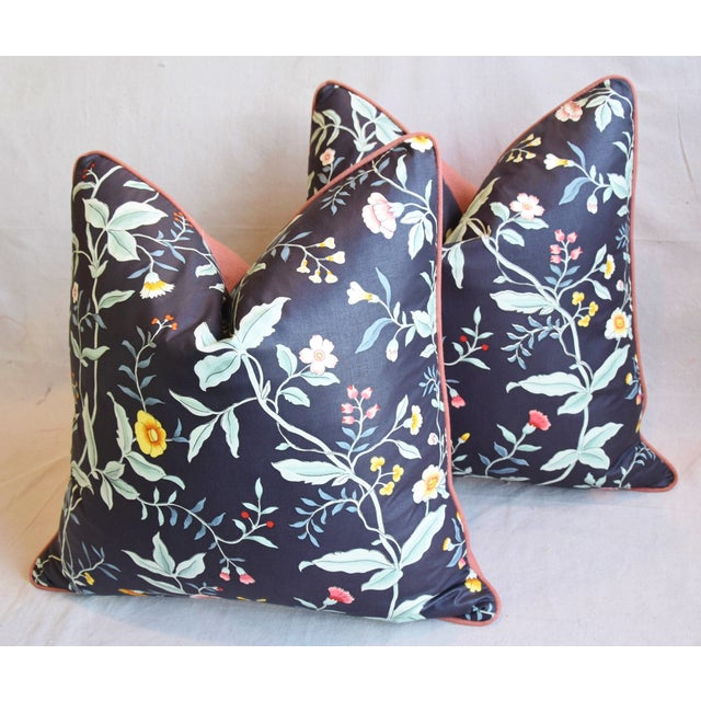 """Green Designer Clarence House Floral Fabric Feather/Down Pillows 23"""" Square - Pair For Sale - Image 8 of 13"""