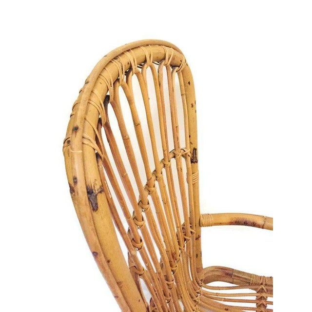 Wood Mid Century Sculpted Bamboo Rocking Chair High Back Franco Albini Style Rocker For Sale - Image 7 of 11