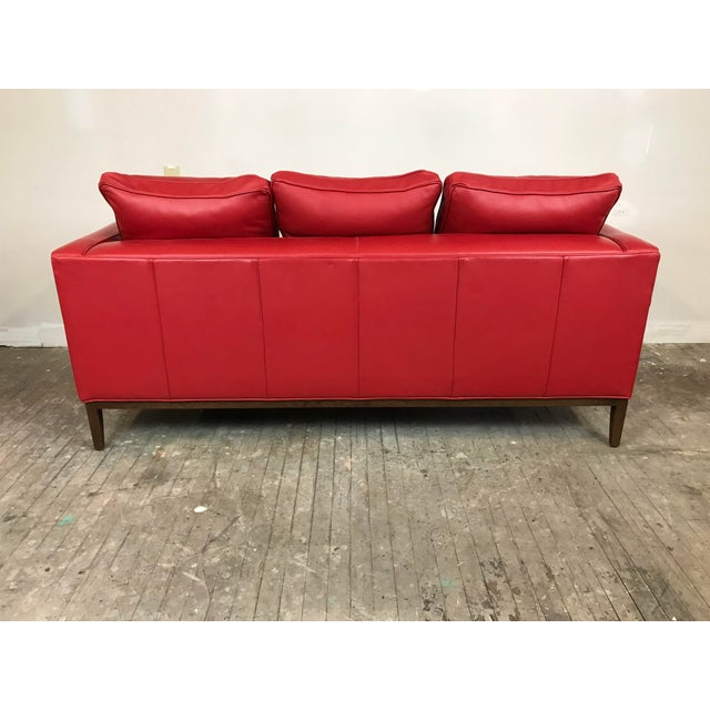 Modern Mid Century Style Red Sled - McCreary Modern for Room & Board Leather Sofa For Sale - Image 3 of 10
