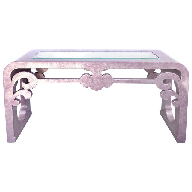 Inset Glass Top Scrolled Console Table - Image 1 of 9