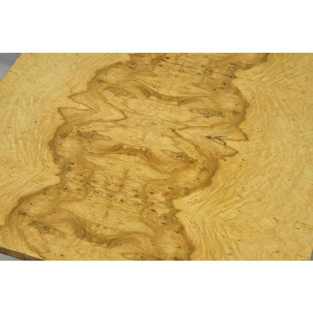 Milo Baughman Milo Baughman Mid Century Modern Burl & Chrome Burlwood Square Coffee Table For Sale - Image 4 of 10