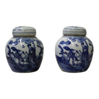 Blue White Small Oriental Graphic Porcelain Ginger Jars - A Pair