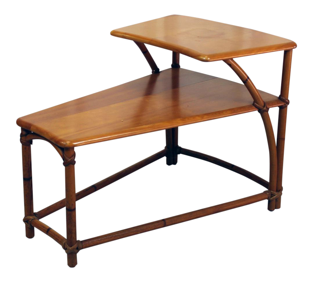 HeywoodWakefield TwoTiered Wedge Shaped End Table Chairish