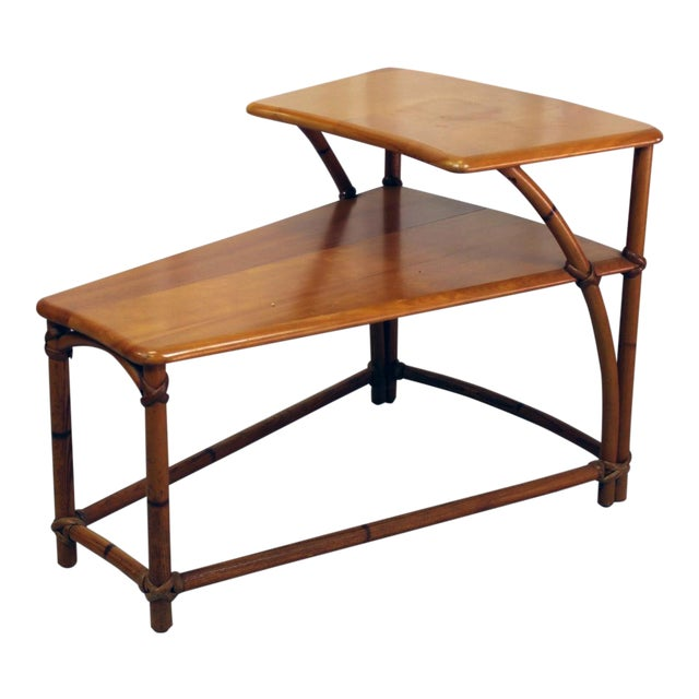 Heywood-Wakefield TwoTiered Wedge Shaped End Table For Sale