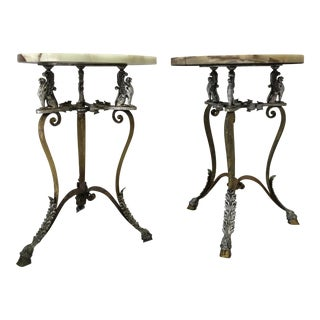 French Onyx Top Gueridons W/ Gryphons Side Tables - a Pair