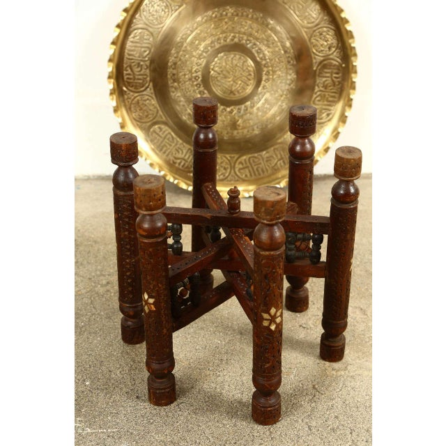 Brass Moorish Brass Tray Side Table For Sale - Image 7 of 10