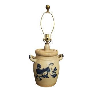 1980s Vintage Stoneware Crock Salt Glaze Lamp With Blue Bird For Sale