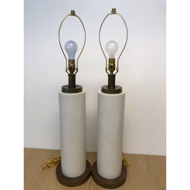 Mid-Century Modern Vintage Ceramic Center and Metal Base and Top Table Lamps with Original Silk Shade - a Pair For Sale - Image 3 of 9