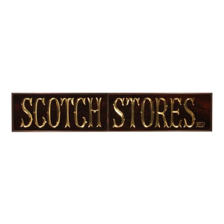 SCOTCH STORES Reverse Painted Glass and Gold Leaf Antique Pub Sign For Sale