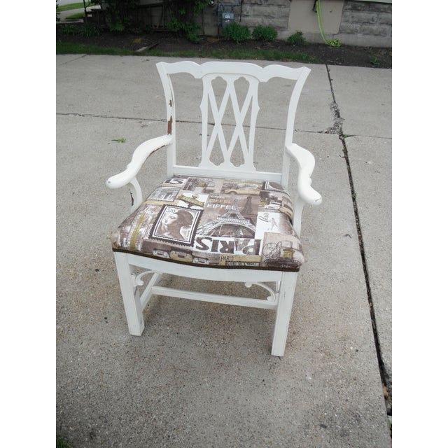 Shabby Chic Chippendale Style Captains Chair - Image 2 of 8